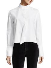 $255 FRAME Cravat Poplin High-Low Cotton Long Sleeve Blouse Size: XSmall White