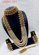 Bollywood Indian Gold Wedding Bridal Pearl Fashion Jewelry Necklace Earring Set