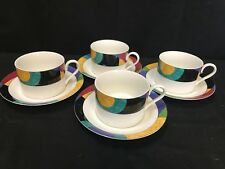 """Mikasa """"CURRENTS"""" Pattern #M5105 ~ Set of 4 ~ Cups & Saucers ~ 2 1/4"""" Tall"""