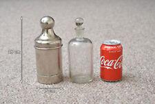 More details for antique medicine bottle vintage old chloroform glass bottle in spring metal case