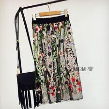 Lady Embroidery Floral Sheer Mesh Skirt Gauze Midi Elastic Waist Black Fashion