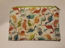 Handmade Zippy Cotton Fabric Coin Purse - Dinosaur Design