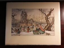 "Vintage Anton Pieck 5"" X 7"" Winter Castle Scene"