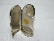 RARE ANTIQUE COTY JASMIN DE CORSE LALIQUE PERFUME BOTTLE in METAL STANDING CASE