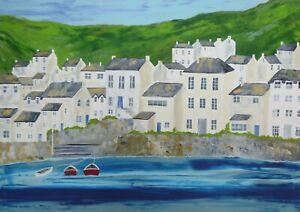 Mousehole Summer : original painting, large, Cornwall, sea, boats, houses, coast
