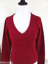 Isabelle Elie Atelier Boutique Women's V-Neck Dark Cherry Red Sweater Sz Large L