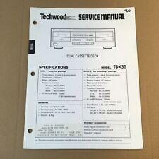 Techwood Service Manual for Model TDX85 (Dual Cassette Deck)