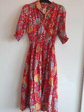 Retro Vintage tea Dress Pleated Size small (6/8/10)