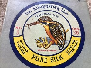 VINTAGE KINGFISHER #3 PURE SILK FLY LINE BOX+ INSTRUCTIONS TROUT SALMON ENGLAND
