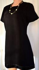 LISA PERRY BLACK SWING MINI DRESS WITH LAMBSKIN TRIM SHORT SLEEVES SIZE 14
