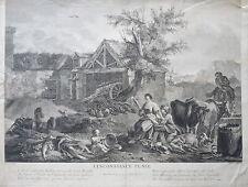 J.B.M PIERRE (1714-1789) GRANDE GRAVURE XVIII° SCENE AMOUR FEMME ANGE BERGER