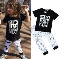 2Pcs Toddler Kids Baby Girls Short Sleeve T-shirt Tops+Pants Outfits Clothes Set