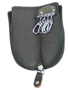Schlüsseltasche aus Leder günstig mit Reißverschluss & Karabinern Top Qualität !
