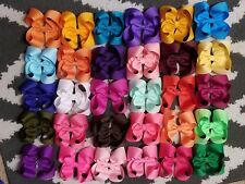 "12  pcs lot baby kids 4 "" Hair bows clips Boutique ribbon grosgrain handmade"