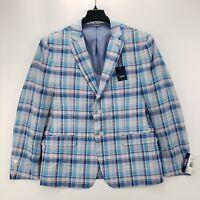 NWT Izod Men's Blue Plaid Sport Coat Jacket Blazer Size 44 Short MSRP $160.00