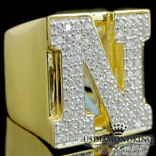 MEN'S NEW YELLOW GOLD OVER STERLING SILVER A++ CZ'S LETTER N INITIAL RING BAND