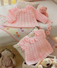 """Girls Crochet Dress Pattern Scalloped edge Sleeves or Sleeveless 22-28/"""" DK 907"""