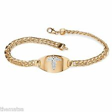 WOMENS MENS  18K GOLD OVER STERLING SILVER EMERGENCY MEDICAL BRACELET