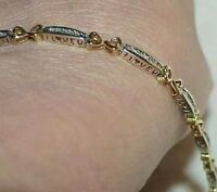 "10K .50ct Diamond I Love You Heart Cutouts Bracelet 2tone Gold 7"" Vintage"