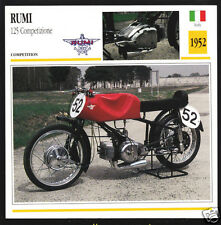 1952 Moto Rumi 125cc Competizione Italy Race Motorcycle Photo Spec Info Card
