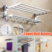 Double Chrome Towel Rail Holder Wall Bathroom Mounted Storage Rack Shelf Aluminu
