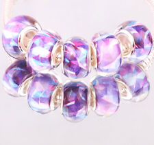 NEW 5pcs SILVER MURANO bead LAMPWORK fit European Charm Bracelet DIY #A19
