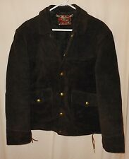 Vtg Suede Cowboy Jacket Brill Brothers Golden Thread Side Laces 42