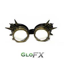 GloFX Brass Spike Steampunk Padded Goggles Aviator Style Sunglasses Fasion Rave
