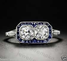 Vintage Art Deco White 2.25ct Round Two Diamond Engagement Wedding Ring Silver