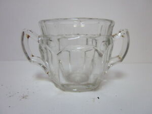 VINTAGE PRESSED CLEAR GLASS ART DECO STYLE LARGE SUGAR BOWL