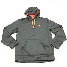 Russell Grey Hoodie Men's Pullover Hooded Sweatshirt Orange Detail Size M 38 -40
