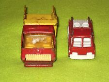 Vintage Metal Toy Cars Dump Truck Red and Yellow + Red Fire Engine