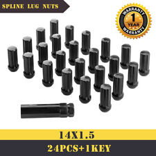 "24 Spline Lug Nuts 1 Key 14x1.5 Black 2"" TALL FOR TOYOTA CADILLAC JEEP GMC CHEV"
