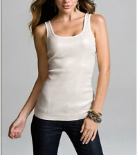 EXPRESS Ivory Beige Small Sequin Scoopneck Pima Cotton Tank Sleeveless Top S $30