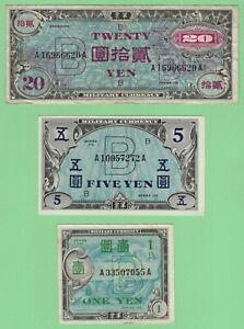 *$Japan Series 100 Allied Military Currency 1 Yen, 5 Yen+20 Yen XF to AU