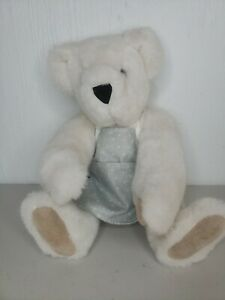 """1992 The vermont teddy bear company, White 16"""" Teddy With Green Apron VINTAGE"""