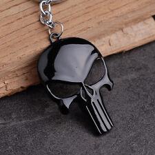 1pc Fashion Mens Punk Black Skull Shape Metal Keychain Cartoon Punisher Mask