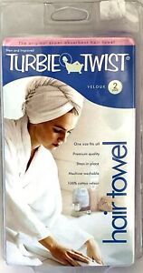 Smart Inventions Turbie Twist Two Pack White & Purple Velour 100% Cotton Towels