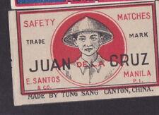 Ancienne étiquette  allumettes Chine  BN33106 Juan de la Cruz Manille