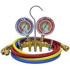 "2-Way Brass Manifold Set w/ 3-1/8"" Gauges 3-60"" Hoses Standard 1/4"" Fittings"