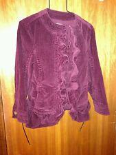 AMI Berry Wine Ruffle Hook Eye Corduroy Jacket Boho Steampunk Victorian Costume