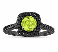 1.67 Carat Peridot Engagement Ring,14K Black Gold Certified Halo Pave Handmade