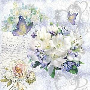 4 individual vintage blue floral decoupage napkins, scrapbooking, mixed media,