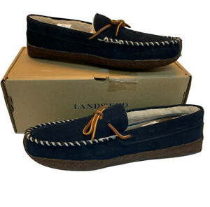 Land's End Men's 10 Suede Shearling Lined Moccasin Slippers Navy Blue NEW