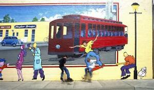 Actual Skateboarders mimic those on Street Mural,Louisville,Kentucky,KY,Am 1361