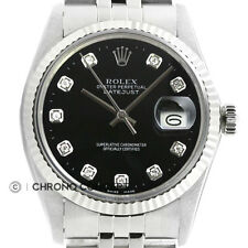 Rolex Mens Datejust Black Diamond Dial Quickset 18K White Gold & Steel Watch