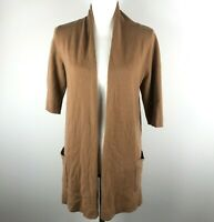 Neiman Marcus The Cashmere Collection Womens S Brown Tan Open Front Cardigan *