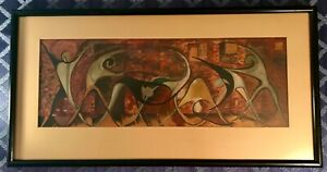 "Abstract Mid Century Modern Framed Gouache Painting Dancers Warming Up 35"" x 18"""