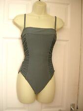 10 GREY SWIMSUIT RUCHED DETAIL BANDEAU + STRAPS MESH TUMMY AND BUST CONTROL  NEW