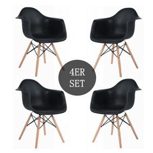 4er Esszimmerstühle Küchenstuhl Sessel Design Stuhl Wohnzimmerstuhl Holz Sommer